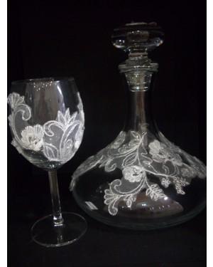 set3 καράφα-ποτήρι με δαντέλα