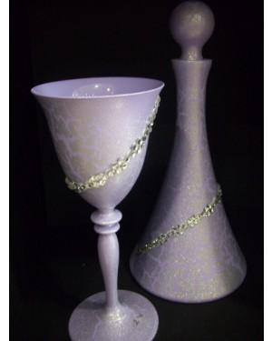 set5 καράφα-ποτήρι λιλά κρακελέ