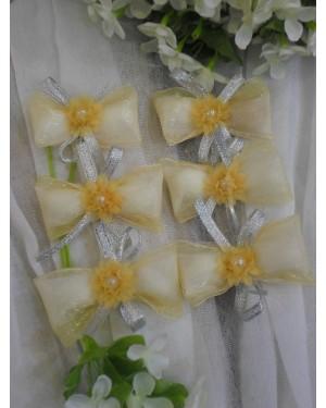 kg11 κερασματάκι φιογκάκι με λουλουδάκι-πέρλα