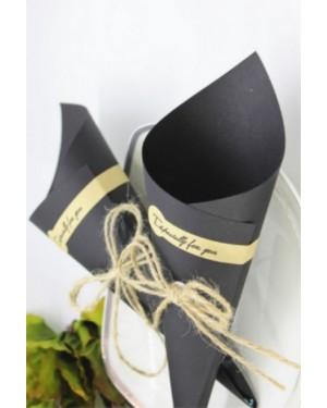 R003 χωνάκι ρυζιού  black με διακόσμηση
